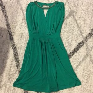 Green beaded wrap bodice dress - size small